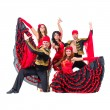 Dancer team wearing in traditional flamenco dresses — Stock Photo #65392571