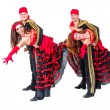 Dancer team wearing in traditional flamenco dresses — Stock Photo #65392703