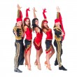 Dancer team wearing in traditional flamenco dresses — Stock Photo #65392709