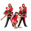 Dancer team wearing in traditional flamenco dresses — Stock Photo #65392715