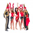 Dancer team wearing in traditional flamenco dresses — Stock Photo #65392737