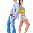 Full length of young couple isolated over white background — Stock Photo #68402075