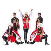 Dansare team bär en folk kaukasiska highlander kostymer — Stockfoto