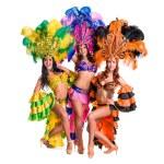 Dancer team wearing carnival costumes dancing — Stock Photo #69556301