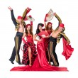 Dancer team wearing in traditional flamenco dresses — Stock Photo #70445471
