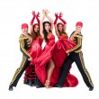 Dancer team wearing in traditional flamenco dresses — Stock Photo #70445503