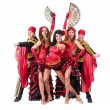 Dancer team wearing in traditional flamenco dresses — Stock Photo #70445507
