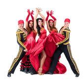 Danser team dragen in de traditionele flamenco jurken — Stockfoto