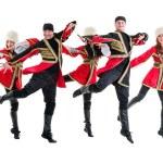 Dancer team wearing a folk Caucasian highlander costumes — Stock Photo #79415306