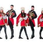 Dancer team wearing a folk Caucasian highlander costumes — Stock Photo #79417056