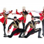 Dancer team wearing a folk Caucasian highlander costumes — Stock Photo #79417348