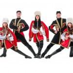 Dancer team wearing a folk Caucasian highlander costumes — Stock Photo #79422032