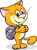 Cat with school bag standing isolated on white background — Stock Vector