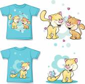 Kid shirt with cute cat in love printed - isolated on white, back and front view — Stock Vector