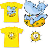 Kid shirt with funny hippo love printed - isolated on white, back and front view — Stock Vector