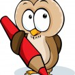 Cute owl hold pencil cartoon - vector illustration isolated on white background — Vector de stock