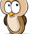 Cute owl cartoon - vector illustration isolated on white background — Vector de stock