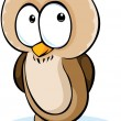 Cute owl cartoon - vector illustration isolated on white background — Stock Vector