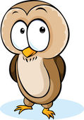 Cute owl cartoon - vector illustration isolated on white background — Stok Vektör