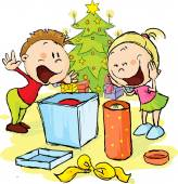 Children under the Christmas tree unwrap gifts - vector illustration — Stock Vector