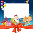 Night christmas frame with Santa Claus, reindeer and snowman - funny vector illustration — Stock Vector #60624811