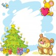 Christmas frame with teddy bear, cute mouse and bird - funny vector — Stock Vector #60624817