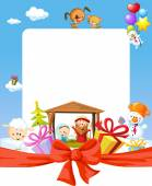 Christmas frame - nativity with jesus, maria and joseph - cartoon illustration — Stock Vector