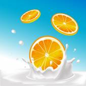 Vector splash of milk with orange fruit - illustration with blue background — Stock Vector