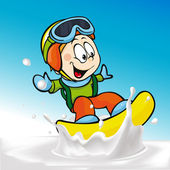 Funny boy cartoon surfing on milk splashing wave - vector illustration — Stock Vector