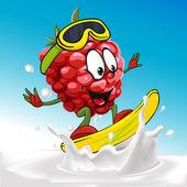 Funny raspberry cartoon surfing on milk splashing wave - vector illustration — Stock Vector