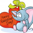 Funny elephant with red heart - Happy Valentines Day — Stock Vector #63833261