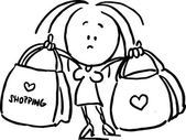 Woman holding shopping bags - black outline sketch illustration — ストックベクタ