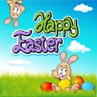 Happy easter text- design with bunny, eggs and spring background — Stock Vector #67832073