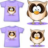 Cute owl printed on shirt — Stock Vector