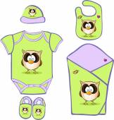 Cute Baby Layette with cute owl - vector illustration — Stock Vector