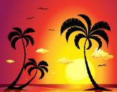 Beach with palm trees at sunset - vector — Stock Vector