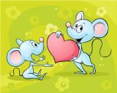 Две мыши в любви - векторные иллюстрации на Абстрактный цветочный фон — Cтоковый вектор