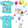 Shirt with funny printed cow flying with balloon - vector illustration — Stock Vector #74806077