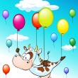 Funny design with flying cow with balloons on blue sky with clouds - vector illustration — Stock Vector #74806099