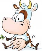 可爱的奶牛坐在白色的背景-一个孤立矢量 — 图库矢量图片