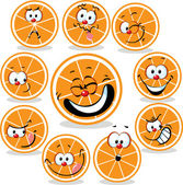 Orange  icon cartoon with funny faces isolated on white — Stock Vector