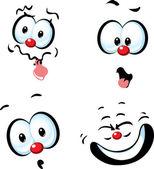 Funny vector cartoon face - grin — Stock Vector