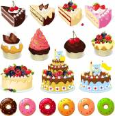 Set of sweets and cakes - vector illustration — Stock Vector