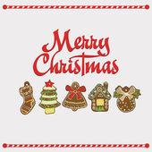 Vector Christmas Card. Gingerbread — Stock Vector