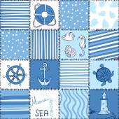 Vector Sea Seamless Pattern Patchwork — Stock Vector