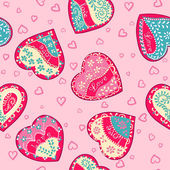 Vector Seamless Pink wallpapers with hearts. — Stock Vector