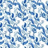 Clip-art Blue Seamless floral ornament pattern — Stockfoto