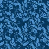 Vector Blue Seamless floral ornament pattern — Stock Vector