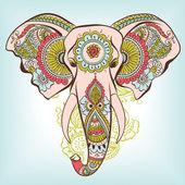 Vector Elephant on the Henna Indian Ornament — Stock Vector