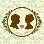 Vector Just married Silhouette in Vintage Frame — Stock Vector